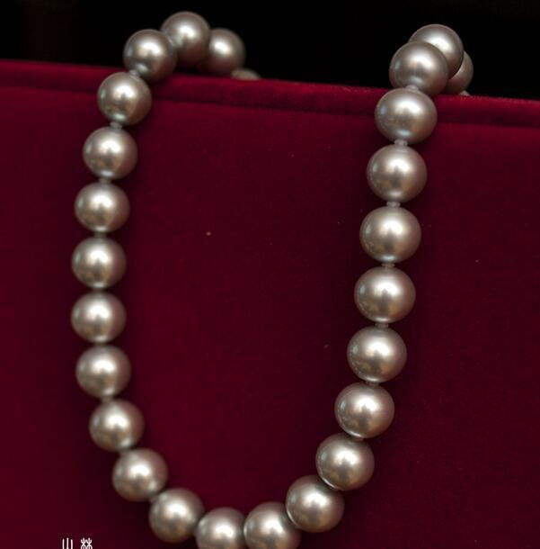 Huge 1811-12mm freshwater genuine silver gray round pearl necklace 925silverHuge 1811-12mm freshwater genuine silver gray round pearl necklace 925silver