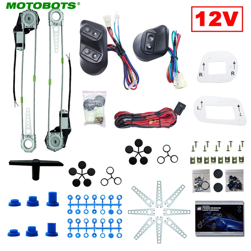 MOTOBOTS Universal Car 2-Doors Electric Power Window Kits with 3pcs Switches & Wire Harness DC12V #CA3781