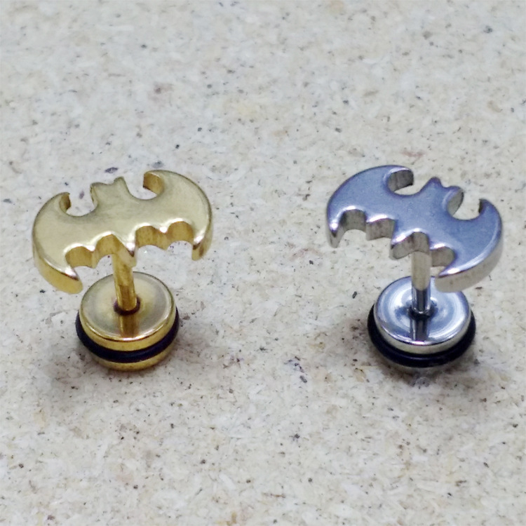 Fashion Batman Earrings Punk Silver Gold Black Stainless Steel Barbell Stud Brincos Jewelry For