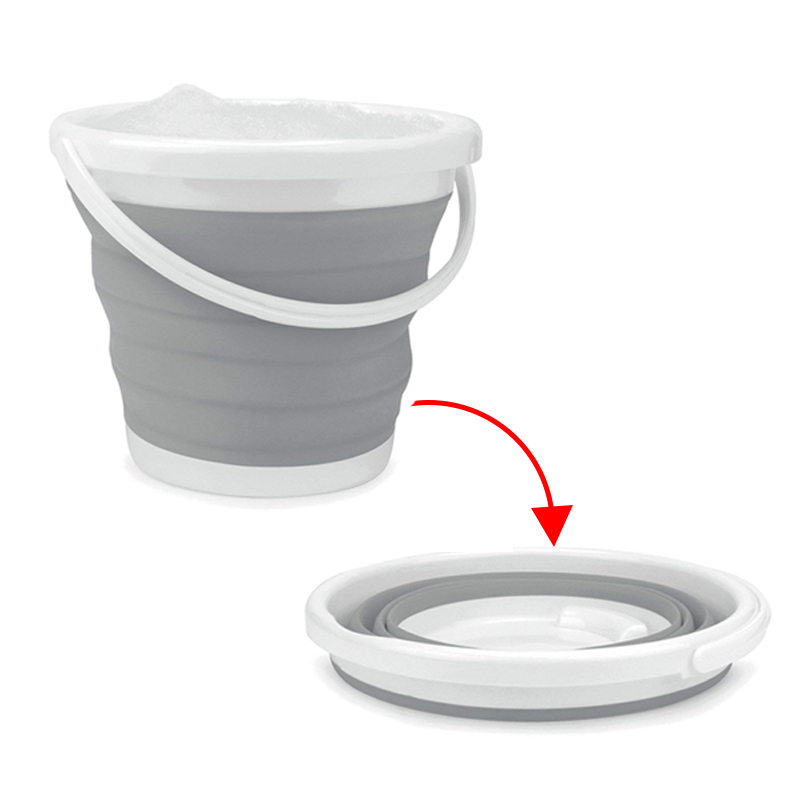 Silicone Collapsible Outdoor Portable Bucket Durable and Space Saving for Car wash Fishing Watering and Loading Clothes 10L
