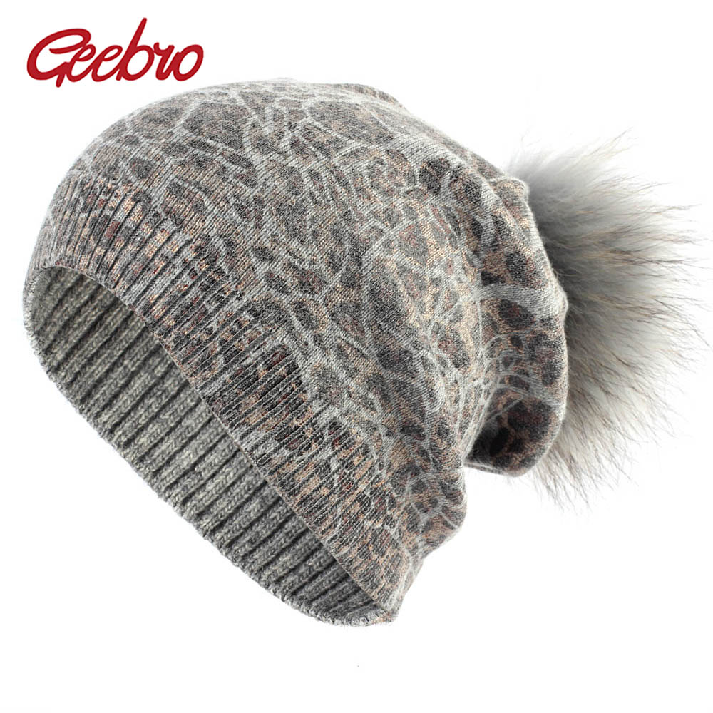 Geebro Women's Beanie Hat With Raccoon Fur Pompom Winter Knitted Cashmere Slouchy Beanie Hat With Real Fur Pompoms For Femme