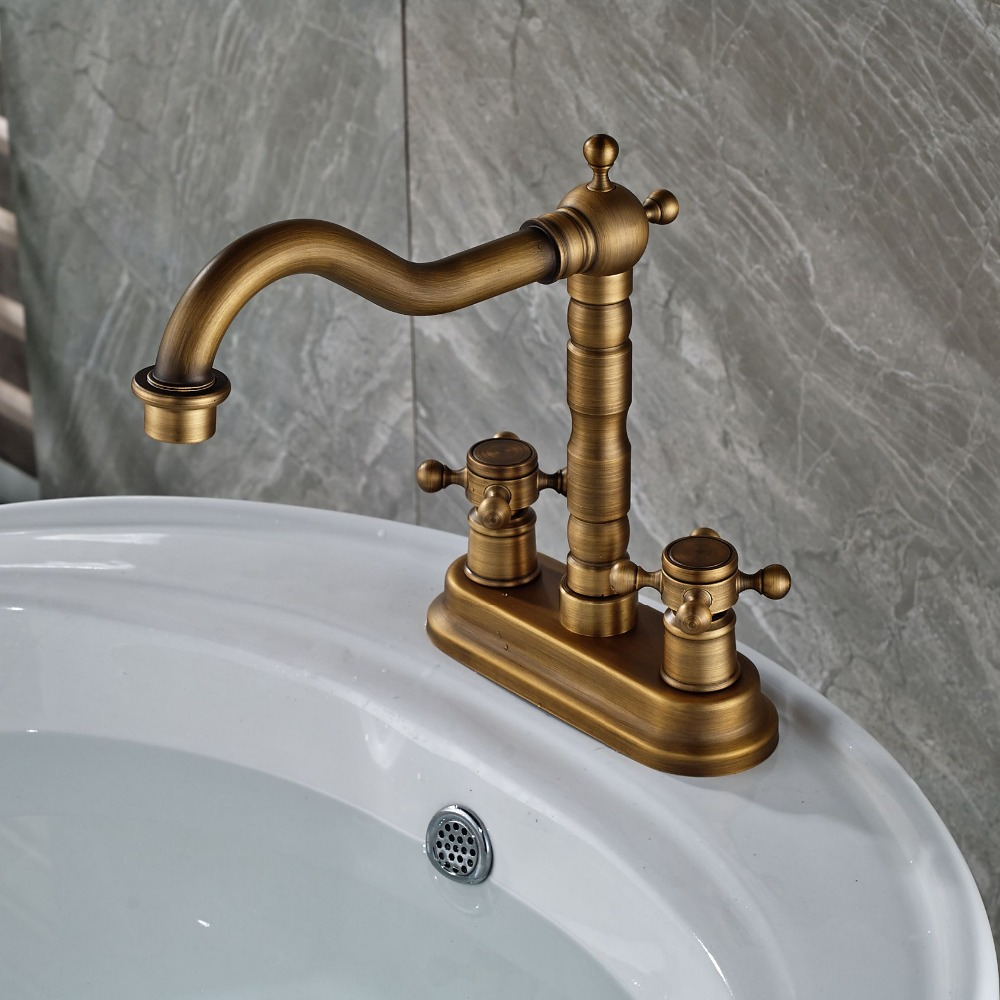 Solid Brass Antique Brass Minispread Bath Basin Faucet with Swivel Spout 2 Handles Mixer Tap antique brass swivel spout dual cross handles kitchen