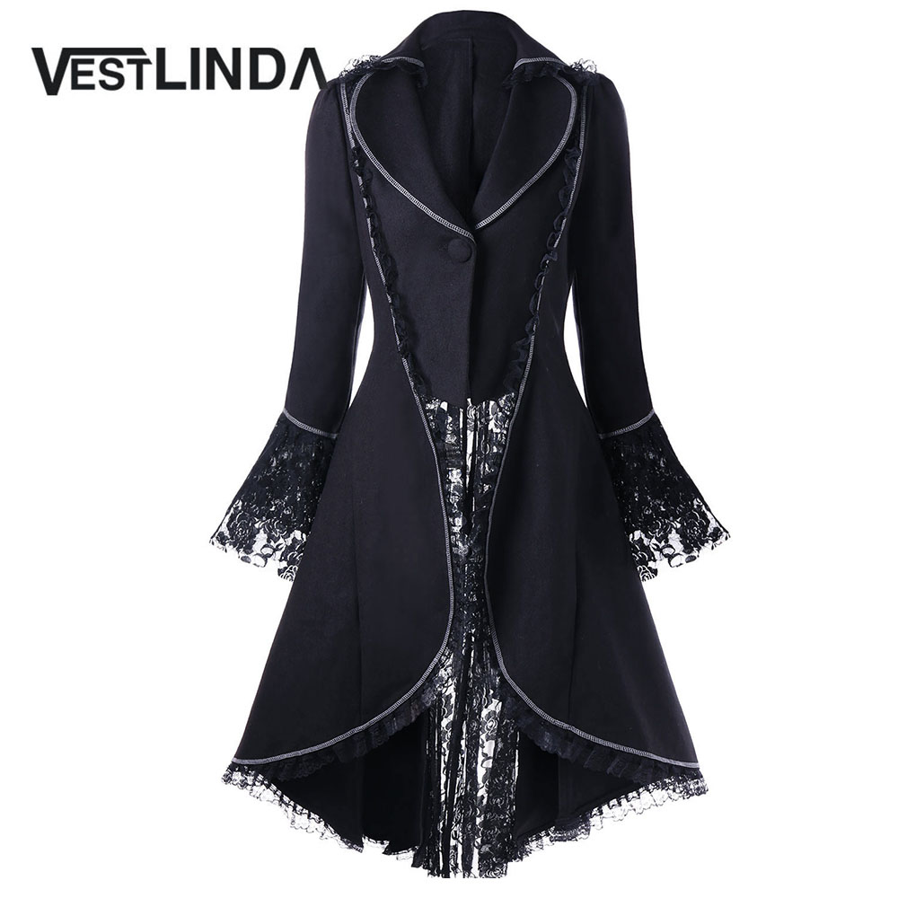 VESTLINDA Outerwear Coats Women Lace Panel Lace-Up High Low Coat Winter Coat Women New Fashion Casual Long Tops Black Red 2017 1
