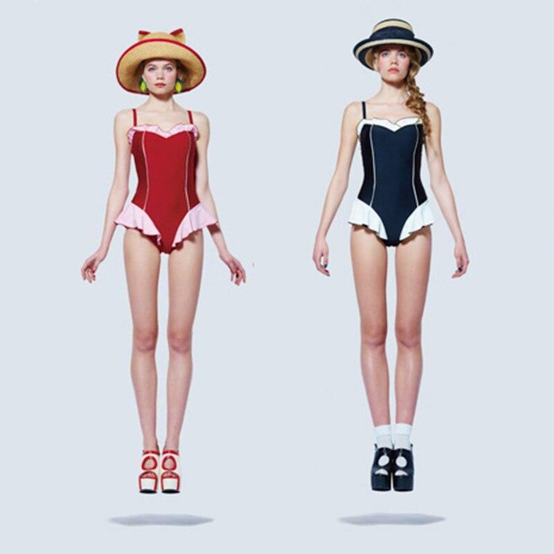 2017 One Piece Swimsuit Swimwear Women Monokini Ruffle Cut Beachwear Bodysuits Teenage Girls Bathing Suit high waist swimsuit one piece swimsuits trikinis high cut thong swimsuit sexy strappy monokini swim suits high quality denim women s sports swimwear