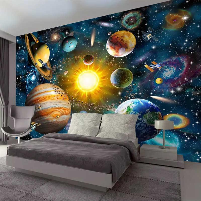 خلفية صور ثلاثية الأبعاد مخصصة لغرفة نوم الأطفال حديثة مرسومة يدويًا برسوم كرتونية نجوم وسماء وسماء غرفة الأطفال خلفية جدارية