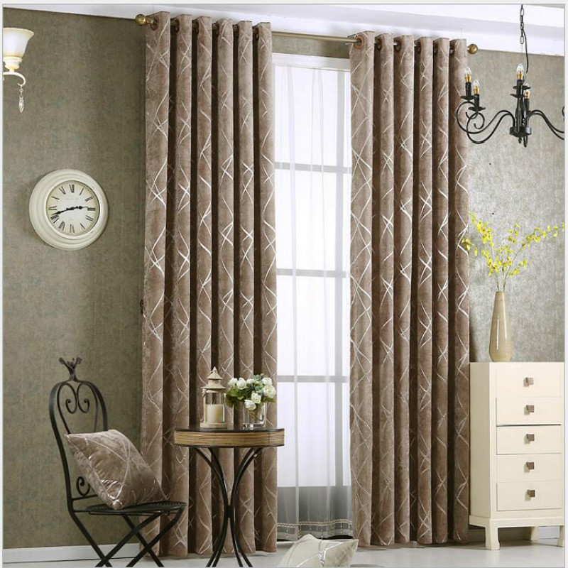 Simple Thick Chenille Fabric Drapes For Living Room Curtain Silver