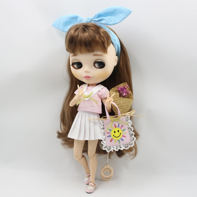 Neo Blythe Doll Pink Shirt HeadDress Yarn Skirt With Bag