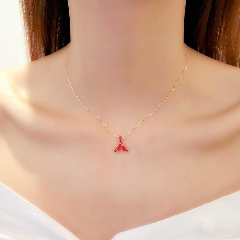 หญิง clavicle chain mermaid tail จี้หัวใจสร้อยคอสั้น