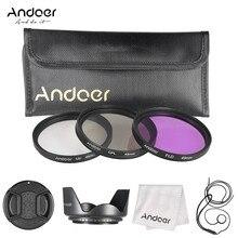 Kit de filtros Andoer de 49mm (UV + CPL + FLD) + bolsa de transporte de nailon + tapa de lente + soporte para tapa de objetivo + parasol + paño de limpieza de lente