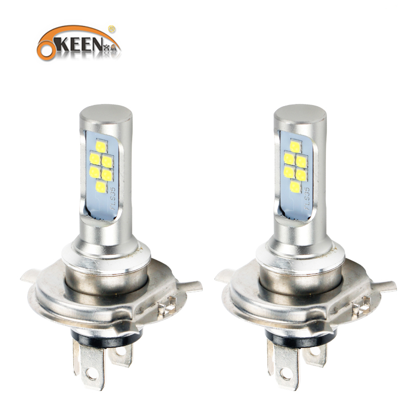 OKEEN 1PCS H4 LED Headlight Motorcycle Moto Fog Light Bulb 12SMD 1200LM Hi Lo Lamp Accessories DRL Lights For Cafe Racer Ktm Exc