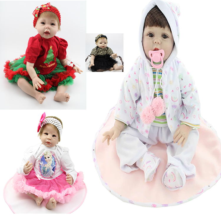 22 Inch 55cm  Collectible Doll Silicone Reborn Baby Dolls Handmade Babies Newborn Lovely Baby Doll Kids Birthday Xmas Gift handmade 22 inch newborn baby girl doll lifelike reborn silicone baby dolls wearing pink dress kids birthday xmas gift