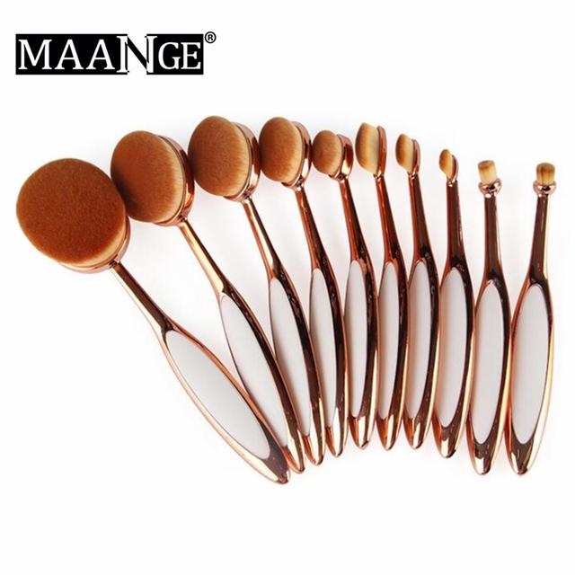 Maange 10 unids/set oro rosa maquillaje cepillos mango de plástico mirror efecto en polvo fundación crema blending eyeshadow cosméticos