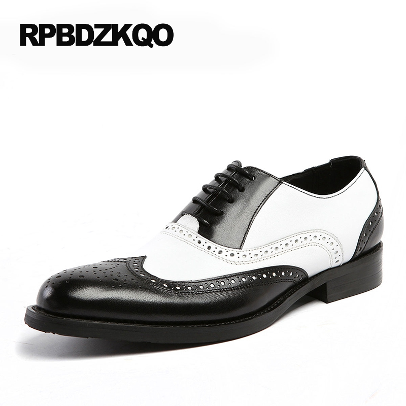 Oxfords Male Round Toe Lace Up Men Black And White Dress Shoes Big Size Flats British Style Brogue Wingtip Fashion Spring цены онлайн