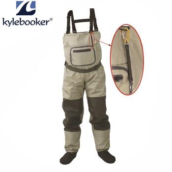 Pesca com mosca ao ar livre estocando o pé, à prova dwaterproof água e respirável waders no peito com uma fivela acidentalmente kits de corda