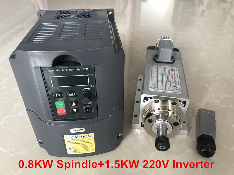 800W 220V Air Cooled Spindle CNC Spindle Motor 4 Bearings Machine Tool Spindle + 1.5KW 220V VFD Inverter For Milling Machine huajiang brand new arrive 1 5kw spindle motor 220v air cooled motor 400hz hot selling cnc spindle motor machine tool spindle