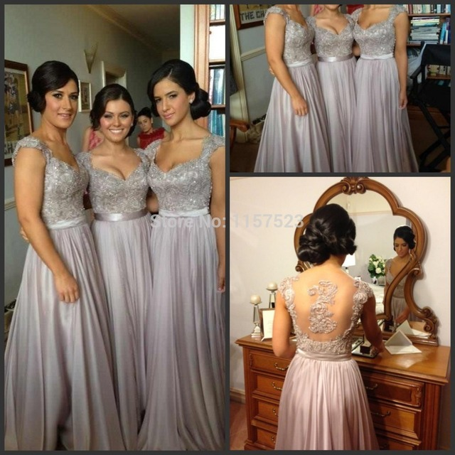 Cheap Bridesmaid Dresses Australia Long Junior Bridesmaids Beach Wedding  Silver Grey Adult V-Neck Built-In Bra Sp 2015 Wholesale e1fa788c2a0a