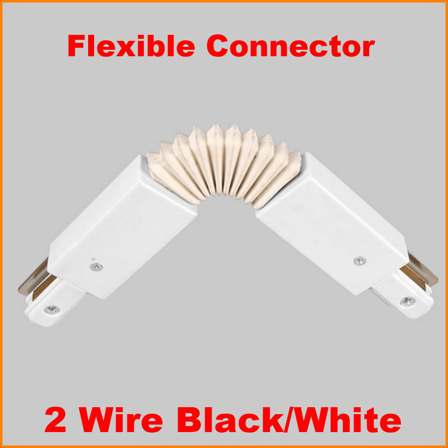 2 wire led track light rail connector track lamp fitting flexible l 2 wire led track light rail connector track lamp fitting flexible l track rail connector aluminum track accessories black white in track lighting from aloadofball Images
