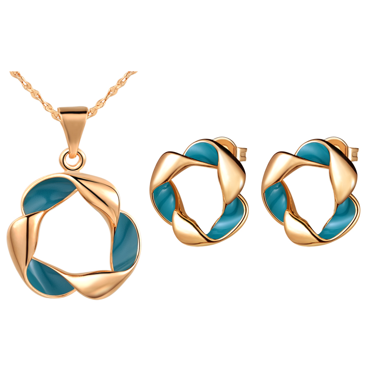 Initiative Beautiful Pm Plating Rose Beautiful Jewelry Set For Women,unique Blue Epoxy,donut Design,cute Retro Style Jewelry & Accessories