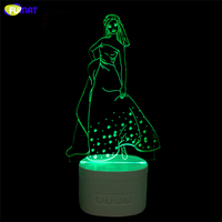 FUMAT Novelty 3D led Lamp Indoor Beauty Bluetooth Speaker Music Princess LED Night Light Color Changeable Lamparas Kid Gift