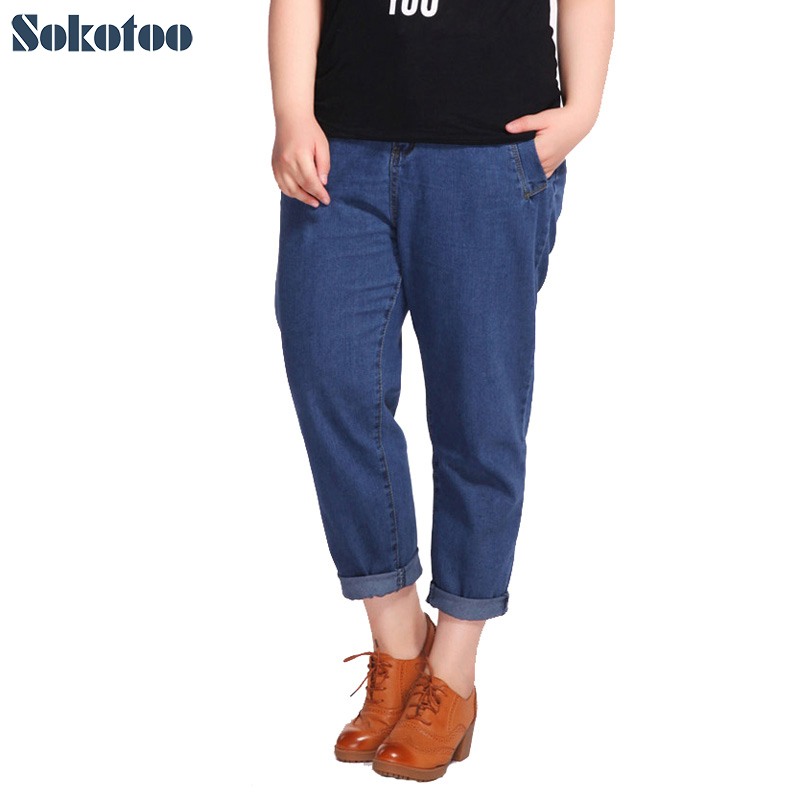 Sokotoo Women's plus large size loose elastic waist ankle length jeans Casual denim ninth pants Summer crop jeans Capri high waist jeans women plus size femme stretch slim loose large size jeans pants 2017 casual ankle length haren pants trousers
