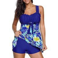 30c9dfcfe785a9 Beach Dress Print Split Bow Dress Type Two Pieces Large Size Swimsuit