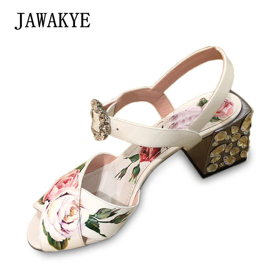 18faf3e9976cb4 New Print Flower Gladiator Sandals Women Jeweled thick Heels Cross belt  Crystal Chunky High Heel Shoes