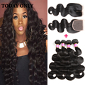 Mink Brazilian Virgin Hair Body Wave 4 Bundles With Lace Closure 8A Virgin Brazilian Hair With Closure Human Hair With Closure