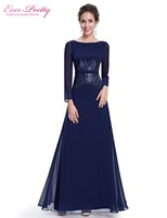Ever Pretty Evening Dresses HE08635NB Women S Sequins Navy Blue Beautiful Elegant Round Neck Long Sleeve