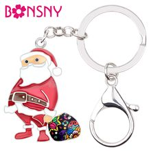 Bonsny Enamel Alloy Sweet Christmas Santa Claus ของขวัญกระ(China)