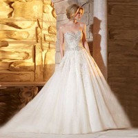 2018 Expensive Beaded Crystals Full Handmade Vestidos sexy Sweetheart Organza Bridal Gown Long mother of the bride dresses