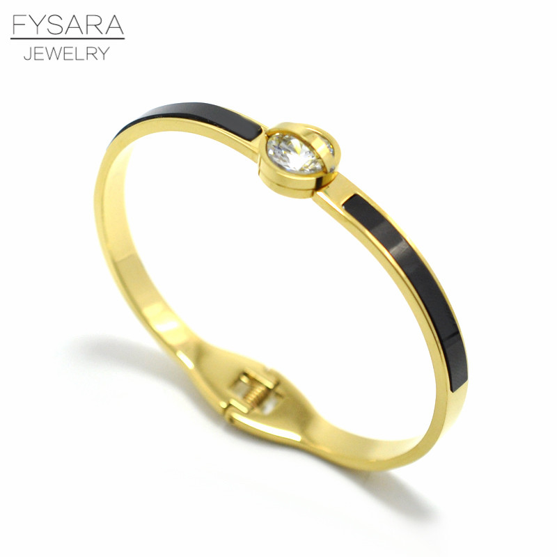 FYSARA Brand Luxury Screw Bracelets Stainless Steel Enamel Black CZ Crystals Bangle For Women Arm Cuff Pulseiras Gift