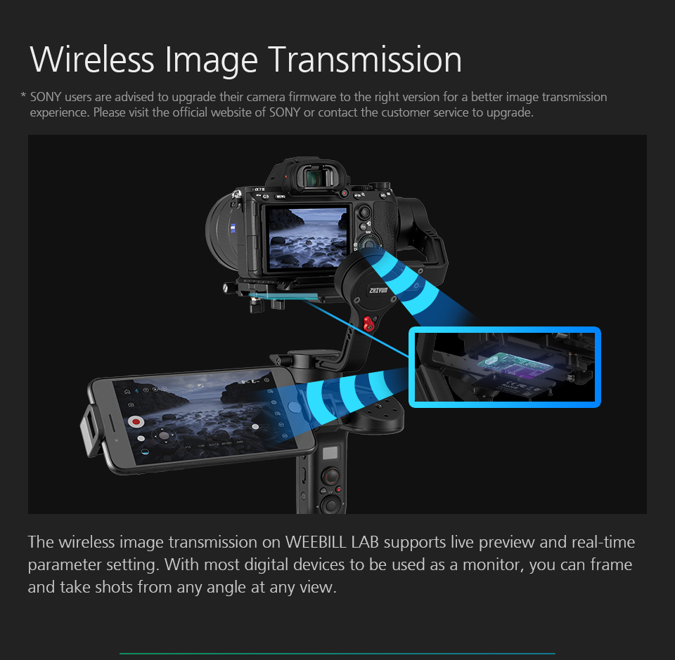 ZHIYUN Official Weebill LAB 3-Axis Image Transmission Stabilizer for Mirrorless Camera OLED Display Handheld Gimbal 7