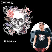 Nicediy Flower Skull Clothes Patch Applique Stickers Trendy Motorcycles Rider Ironing on Patches Heat Transfer Vinyl Parches DIY