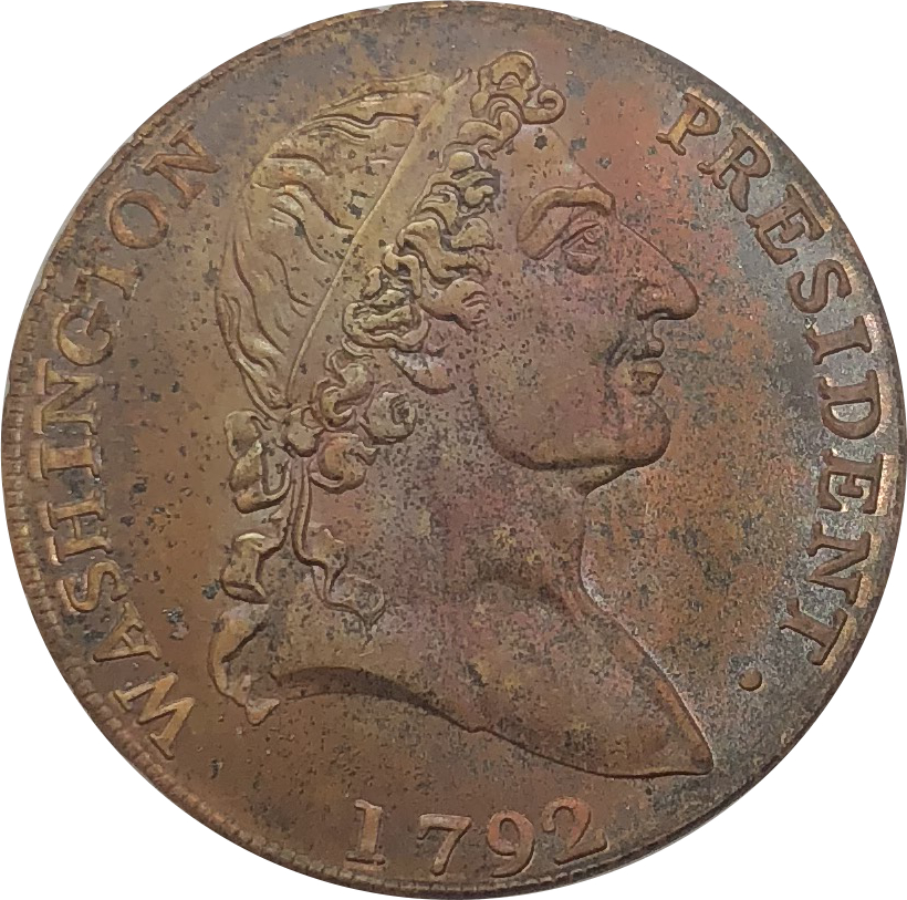 United States Of America 1792 Cent Roman Head Lettered Edge Washington President Red Copper Copy Coin