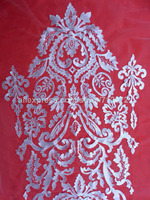clothing dress appliques off-White/Deep blue/pink/red embroidered Front skirt pieces on netting 115 x 45 cm by piece