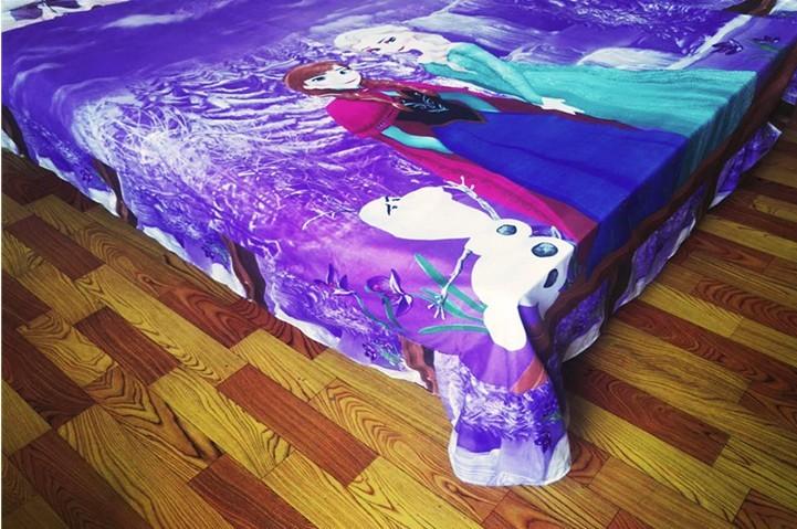 purple Frozen Elsa Anna bedding sets Girl's Children's bedroom decor single twin size bed bedspread duvet covers 3pcs no filler 14