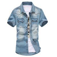 casual 2016 spring and autumn fashion Korean version of the new hot denim short sleeve shirt