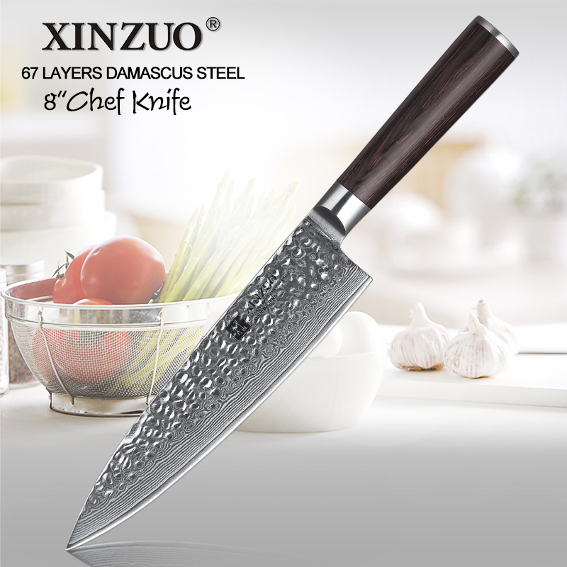 XINZUO 8 Chef Knife Pro Japanese Damascus Steel Kitchen Knives High Carbon Stainless Steel Meat Santoku