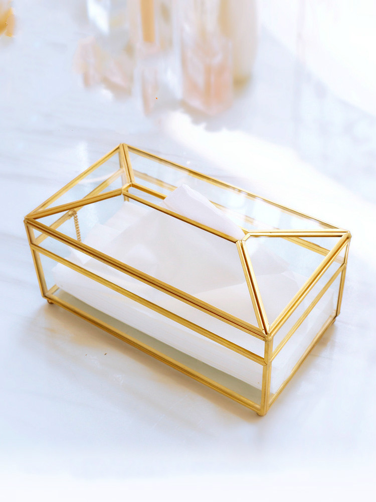 European creative glass tissue box Simple living room household tissue box Nordic luxury light luxury napkin