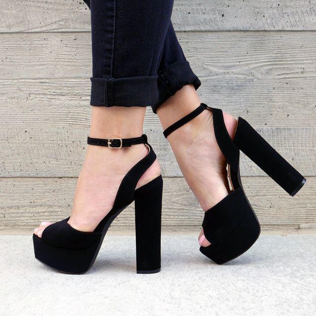 Chic Black Buckle Style Block Heel Platform Sandals Sexy