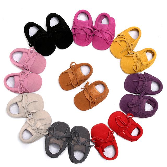 Cordón de Color Sólido Hecho A Mano Moda Borla del Cuero Genuino de Suela Blanda Venta Caliente 2016 Precioso Bebés Primer Caminante