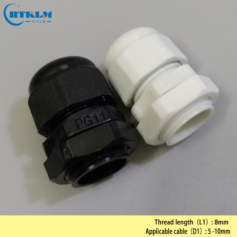 Cable Gland Joints Connector 5-10mm PG11 Waterproof Nylon 0.19*0.39inch