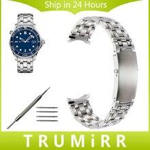 20mm Curved End Acero Inoxidable Correa + de Omega Seamaster 007 de Los Hombres de Venda de Reloj de Pulsera Correa de Reemplazo pulsera de Plata