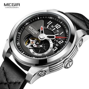 MEGIR Fashion Men's Leather Strap Mechanical Watches Black Analogue Skeleton Mechanical Wristwatch for Man Waterproof