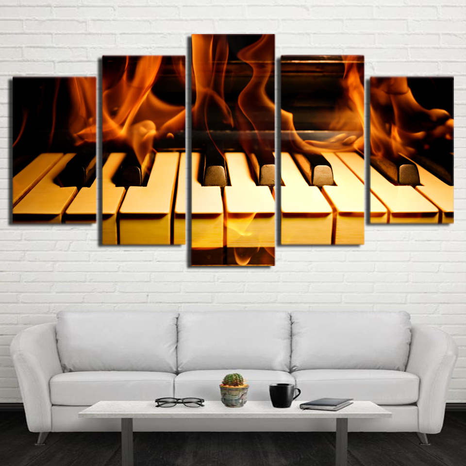 Canvas wall art gambar hd dicetak poster bingkai modern living room decor 5 piece api api tuts piano lukisan abstrak pengda di painting calligraphy dari