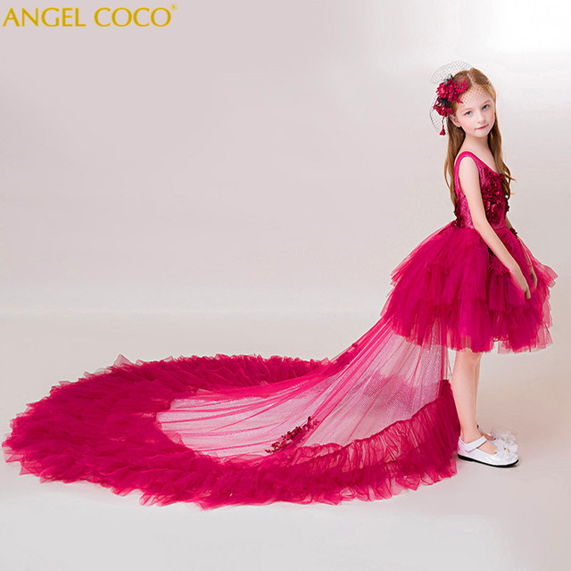 f92e3740b424e Princess Dress Flower Carnival Costume For Kids Clothes Catwalk Show  Clothing Little Girl Red Gown Christmas Children'S Dresses