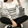 Autumn&Winter Sweater Women Patchwork Pullovers Knitted Soft Warm Strip Pullover Female Fashion High Qualtiy Basic Coats JN1253