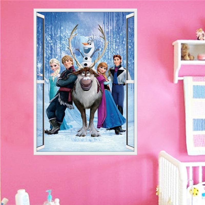 Lovely Olaf Sven & Kristoff Hans Elsa Anna Princess 3d Window Wall Stickers Home Decoration Frozen Mural Art Kids Decals