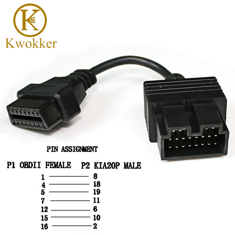 KWOKKER OBD 2 Cable for KIA 20 Pin To 16 Pin OBD2 OBD Diagnostic Tool Scanner Code Reader Adapter Car Connector Cable KIA 20Pin