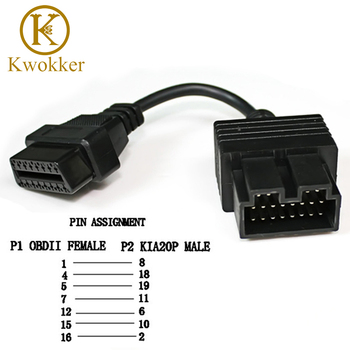 OBD 2 Cable for KIA 20 Pin To 16 Pin OBD2 OBD 2 Female Diagnostic Tool Scanner Code Reader Adapter Car Connector Cable KIA 20Pin plantronics зарядка